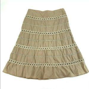 Talbots A Line Embroidered Skirt Size 4